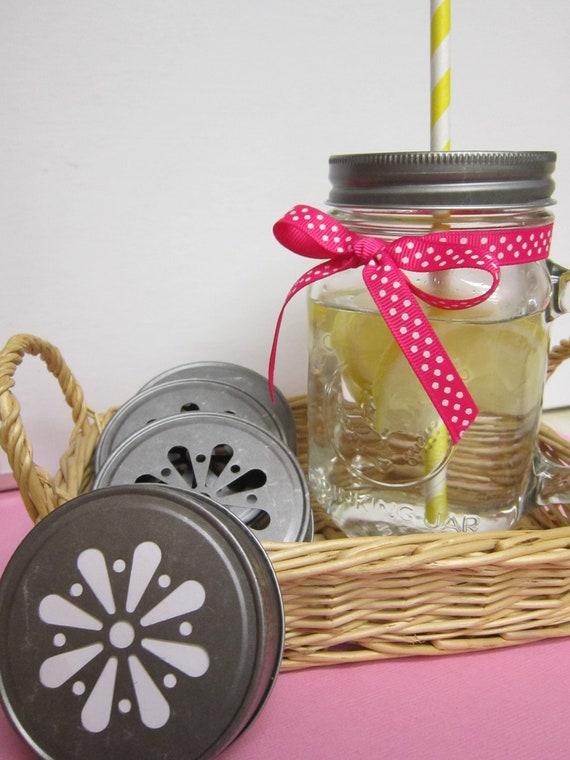 Antique Pewter Daisy Mason Jar Lids (Set of 6)