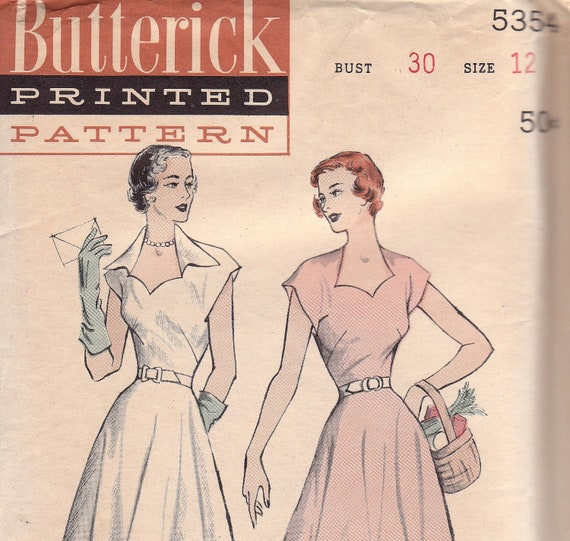 1950s Day Dress Pattern with Sweetheart Neckline Butterick 5354 Size 12 Uncut