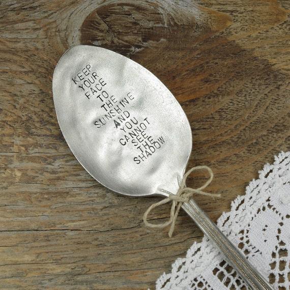 Helen Keller Inspirational Quote. Garden Marker / Plant Marker. Vintage Silver Plated Spoon