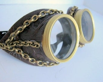 Steampunk Goggles, Air Pirate, Eye wear, Burning Man Goggles, Chains, Cyberpunk Goggles, Festival, Cosplay, Sci-Fi, Mad Max, faux leather