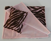 Pink and Brown Animal Print Fleece Blanket and Pillow for American Girl and 18 Inch Dolls