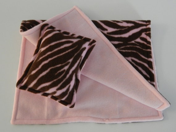 Animal Pillow With Blanket : Pink and Brown Animal Print Fleece Blanket and Pillow for