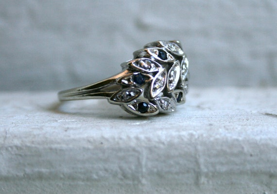 Pretty Vintage 14K White Gold Leaf Cluster Diamond and Sapphire Ring.