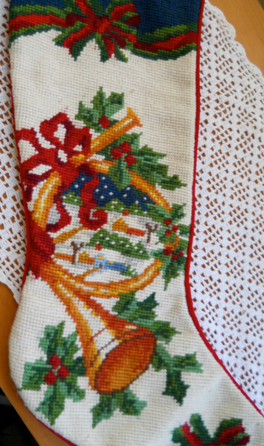 Vintage Needlepoint Christmas Stocking By Cyndalees On Etsy