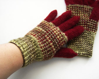 Hand Knitted Gloves - Red and Green, Size Medium