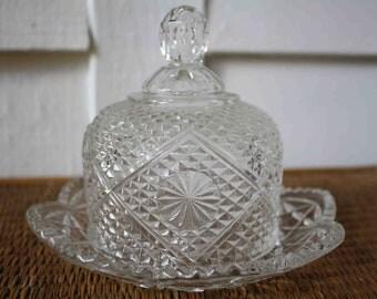 Vintage Fostoria butter dish, crystal cloche