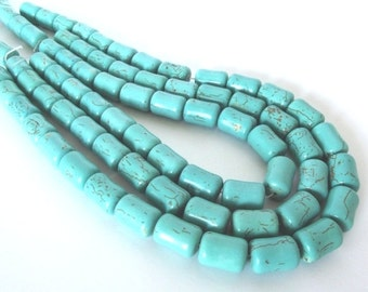 "Turquoise Magnesite Tube Beads, 16x12mm -15"" Strand"