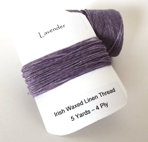 Irish Waxed Linen Thread Cord, Lavender, 4 Ply - 5 Yards