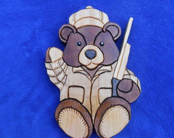 Hunting bear, wooden Teddy Bear, segmentation, wall hanging, home decor, Country Living
