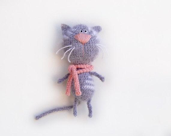 Crochet Cat toy tabby gray white kids childrens crochet toy