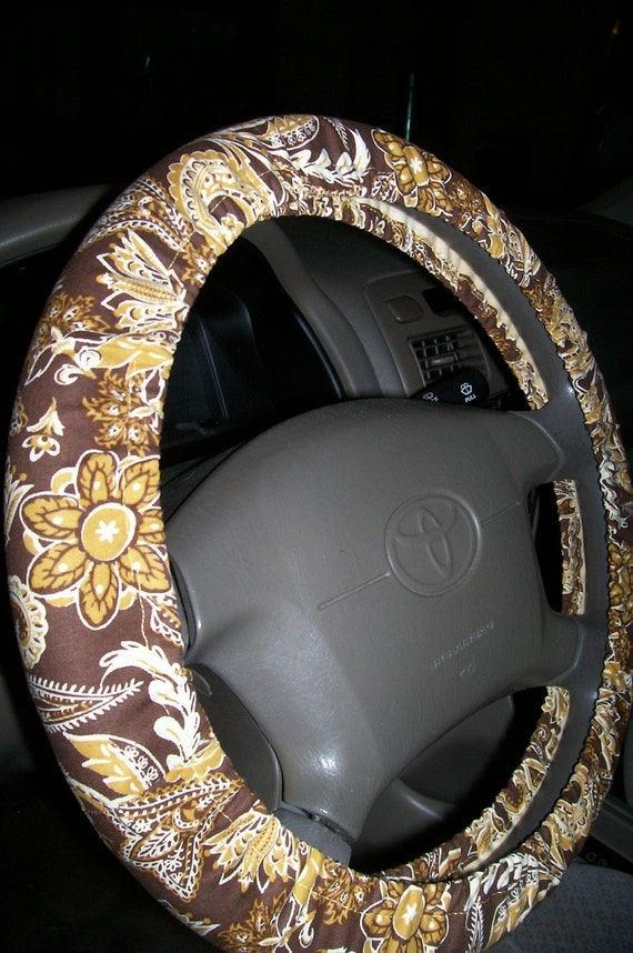 Gold Brown Paisley Steering Wheel Cover