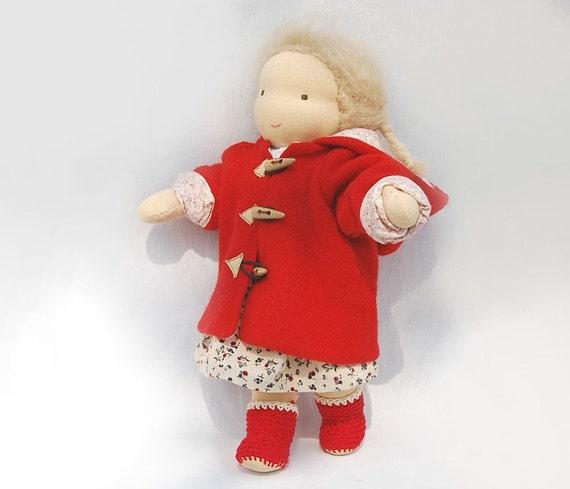Girl Waldorf doll red coat and boot  made of natural materials, handmade