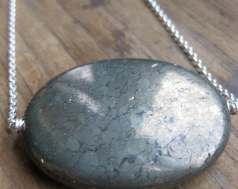 oval PYRITE dot faceted chunk sterling necklace