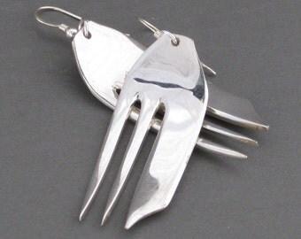 recycled silverware PASTRY FORK earrings