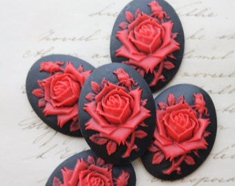 5 Unset Rose Cameos - Red on Black - 40x30mm - Cab Cabochon Resin Gothic Victorian