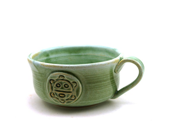 Soup Mug with a Taino Sun aka Sol de Jayuya:  Large Green Mug for Soup or Cafe au Lait by MiriHardyPottery