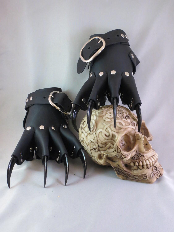 Black Leather Gothic Dragon Claw Gauntlets By