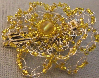 Yellow Flower Hair Clip Beaded Wire Crochet