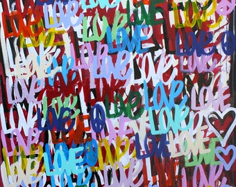 ORIGINAL abstract large contemporary pop art fine art acrylic moderm cubism Valentine's Day by Chris Riggs