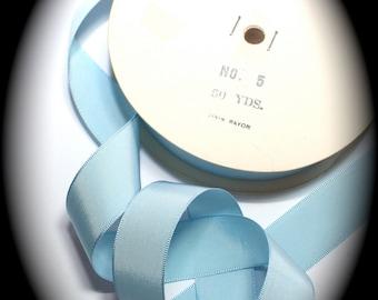 "Rayon Ribbon-1"" x 10 yards  Light Blue Taffeta Ribbon   100% Rayon Woven Edge"