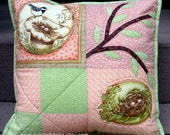 Quilted pillow Throw pillow, nesting birds, pinks and greens