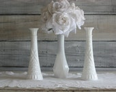 Milk Glass Bud  Vase Set, Cottage Chic Vase, Shabby Chic Decor