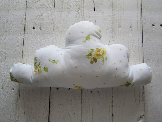 RESERVED FOR BRENNA Vintage floral cloud pillow - white and yellow floral