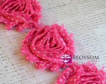 1/2 or 1 Yard Increment - Pink Dots - Chiffon Shabby Rose Trim - Headband Flowers - Scrapbooking