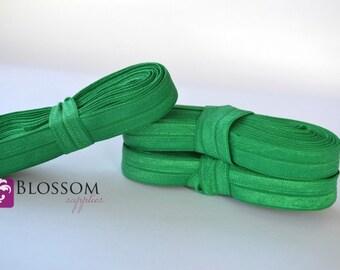 10 Yards Emerald Green 5/8 Inch Fold Over Elastic - Shiny FOE - Baby Headband Elastic - diy Emi Jay Hair Ties - Wholesale Supplies