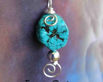 Dainty Turquoise Wire Wrapped Pendant (The Turquoise is stabilized to enhance color and hardness)
