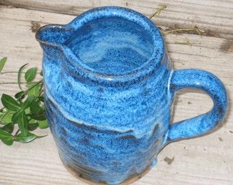 Large Pitcher Blue Stoneware Pitcher