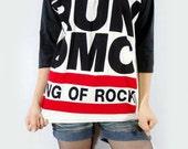 RUN DMC King Of Rock Hip Hop Punk Women Shirt Men Shirt Unisex Shirt 3/4 Long Sleeve Shirt Jersey Shirt Raglan Shirt Baseball T-Shirt Size M