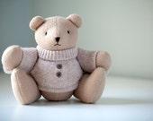 "Classic Teddy Bear with Wool Sweater 12""  Handmade Softie OOAK"