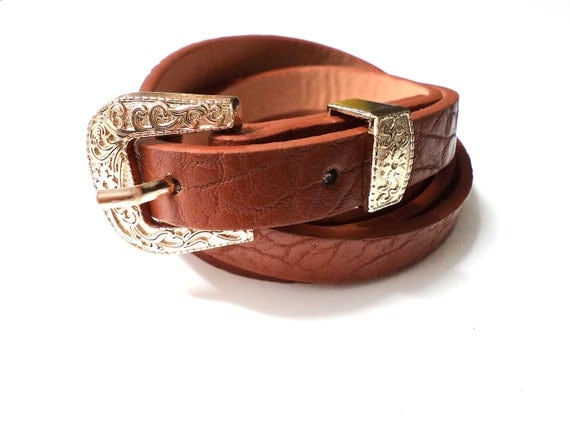 New  Bright Brown Mustard Accessorized Women's Belt with Gold Graved in Floral Pattern Buckle.