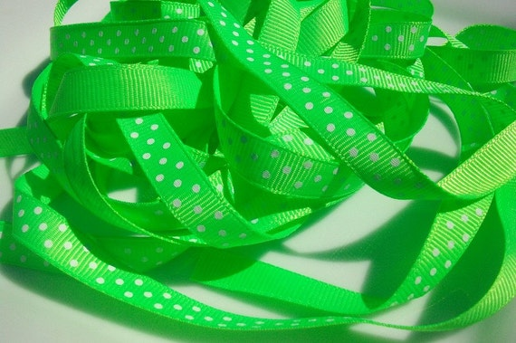 Neon Green and white Polka Dotted Ribbon / scrap booking / card making / bow making