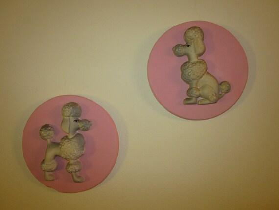 Vintage 1957 Miller Studio's Pink Snooty Poodle Chalkware Wall Hangings