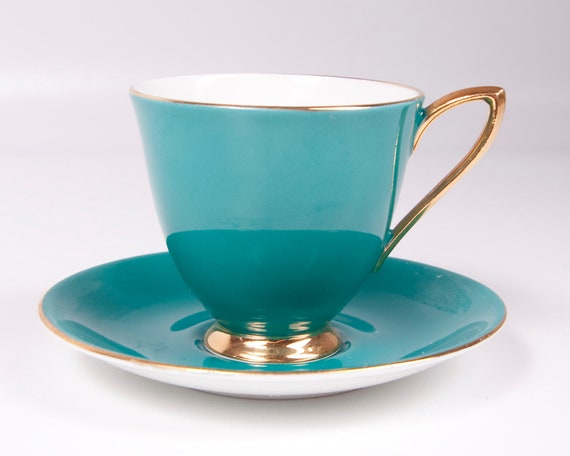 Vintage Royal Albert Footed Teacup Teal and Gold Bone China England Gaiety