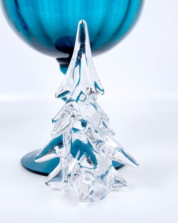 Lead Crystal Tree Figurine Japan Art Glass Paperweight  Free Form Christmas Tree