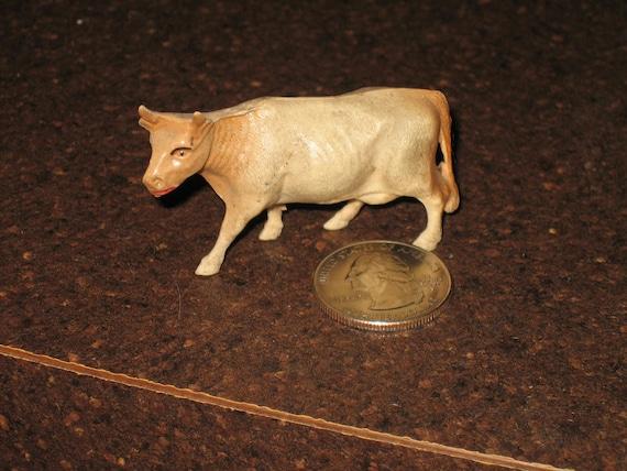 Tiny Miniature Celluloid Toy Cow Circa 1930