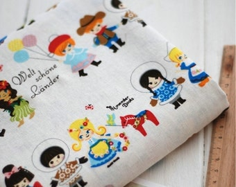 Half Yard Cotton Linen Fabric,Craft,Cartoon,Child,Hand In Hand,Foreign Country,Ethnic,Pattern,diy,Sewing (C240)