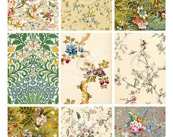 Gypsy Florals ATC backgrounds Collage Sheet Printable Digital File Instant Download