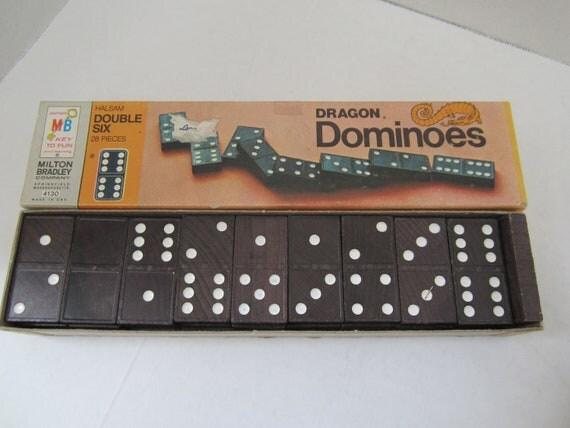 Halsam Black Wooden Double Six Dragon Dominoes Twenty Eight Piece  Milton Bradley c1970