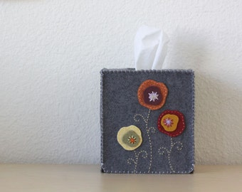 Nikkie's Felt Poppy Tissue Box Cover-Dark Gray
