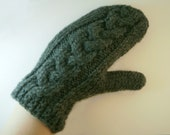Grey mittens cable knit , grey gloves