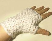 White fingerless gloves lace knit