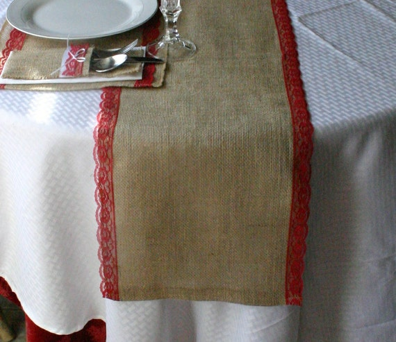 Items similar to christmas burlap table runner christmas for Burlap christmas table decorations