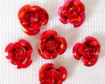 50 Metal Flower Beads 6mm Aluminum Red Rose Findings (SBMFL6-1008)
