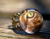 Cat ring, vintage rustic jewelry, cat lover, green cat eye photo ring, whiskers kitty cat, bronze custom ring, unique gift