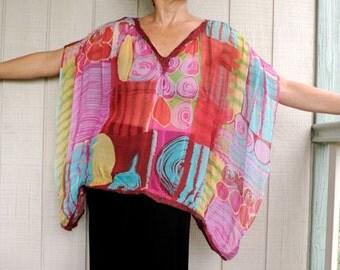 Nuno felted silk chiffon top multicolored