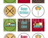 Printable - 2 Inch Circle/Square - Happy Birthday, Birthday Express Train, Cupcake Toppers, Tags